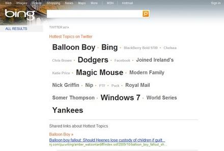 Секция Bing Twitter