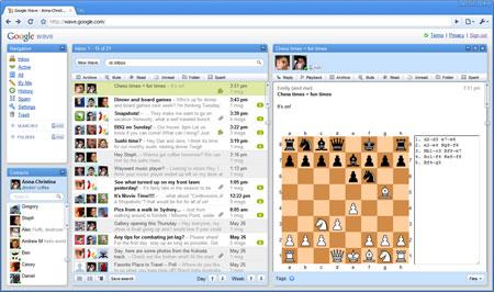 Помимо основных функций общения и работы над документами, в Google Wave уже сейчас доступны некоторы дополнительные сервисы, например шахматы