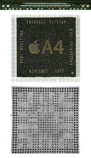 Процессор Apple A4: вид в разрезе, сверху и снизу