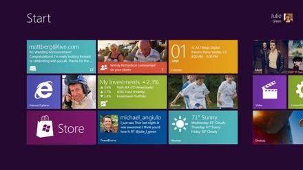Домашний экран Windows 8