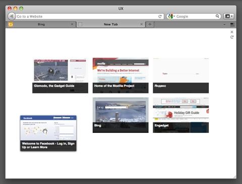 Экспресс-панель в ночном билде Firefox 12