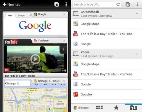 Внешний вид бета-версии Chrome for Android