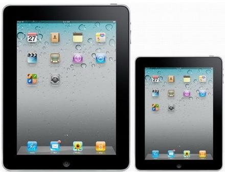 Предполагаемый iPad Mini (справа), смоделированное изображение