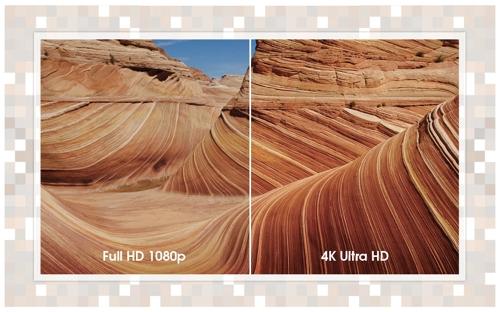 Разница между Full HD и Ultra HD, с сайта Sony