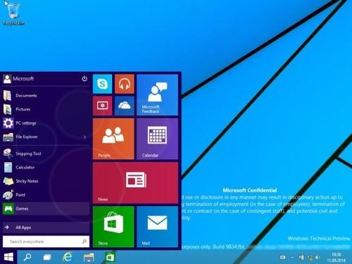 Меню «Пуск» в Windows 9 Technical Preview