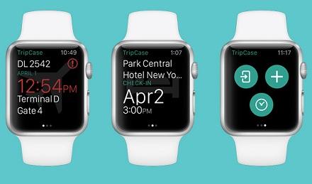 Версия мобильного туристического приложения TripCase для Apple Watch