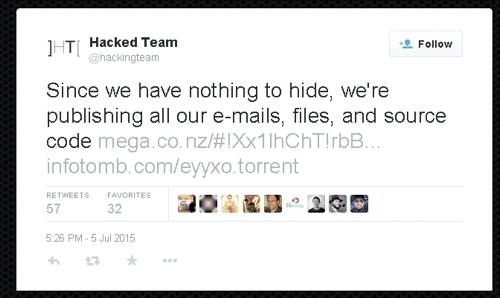 Уведомление хакеров о взломе в официальном аккаунте Hacking Team Подробнее: http://safe.cnews.ru/news/top/index.shtml?2015/07/06/597251