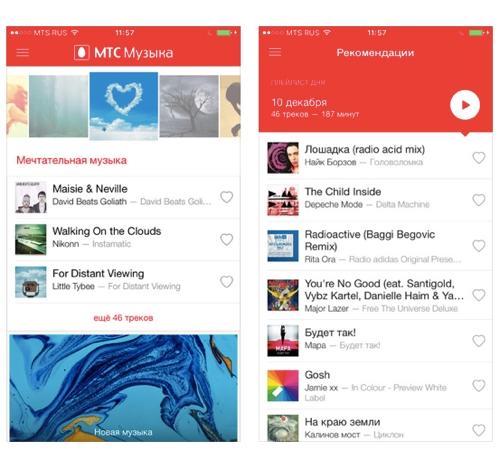 ПриложениеМТС Музыка дляiPhone