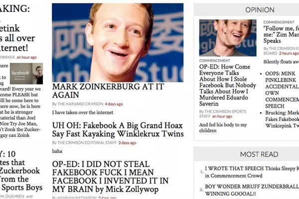 Цукерберг получил диплом брошенного лет назад Гарварда  Неизвестный хакер взломал сайт газеты Гарварда чтобы выложить карикатуры на Цукерберга