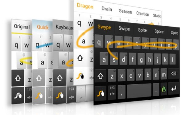 Клавиатура Swype Keyboard позволяет набрать слово не отрывая пальца от экрана