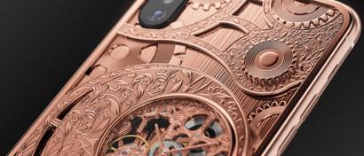 В России выпустили гибрид iPhone XS и механических часов-скелетонов. Видео