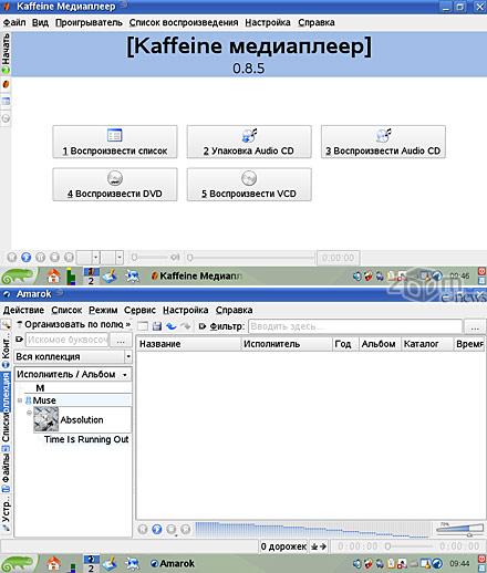В SUSE в комплекте присутствуют программы для работы с видео (kaffeine) и аудио (Amarok)
