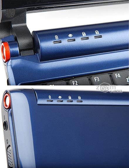Индикаторы состояния системы Acer Aspire One видны как при открытой, так и закрытой крышке нетбука