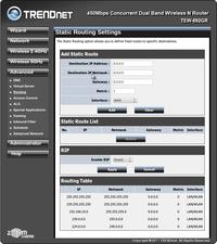 Настройки: таблица маршрутизации