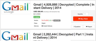 На продажу выставлены 25 млн логинов Gmail с паролями